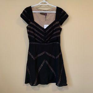 FREE PEOPLE Black Elle Lace Mini Dress